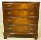 Georgian Style Small Walnut Bow Front Chest of Drawers